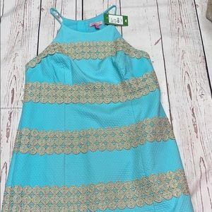 Lilly Pulitzer Blue and Gold Annabelle Shift Dress